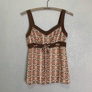Ann Taylor Loft floral geometric print blouse